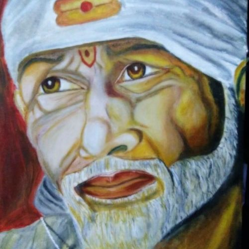 acrylic  of saibaba, 16 x 20 inch, aishwarya soman,paintings,religious paintings,portrait paintings,paintings for dining room,paintings for living room,paintings for office,paintings for hospital,paintings for dining room,paintings for living room,paintings for office,paintings for hospital,canvas board,acrylic color,16x20inch,GAL0587214358
