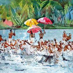 kerala boat race , 15 x 21 inch, raji p,landscape paintings,paintings for office,fabriano sheet,watercolor,15x21inch,GAL05901436
