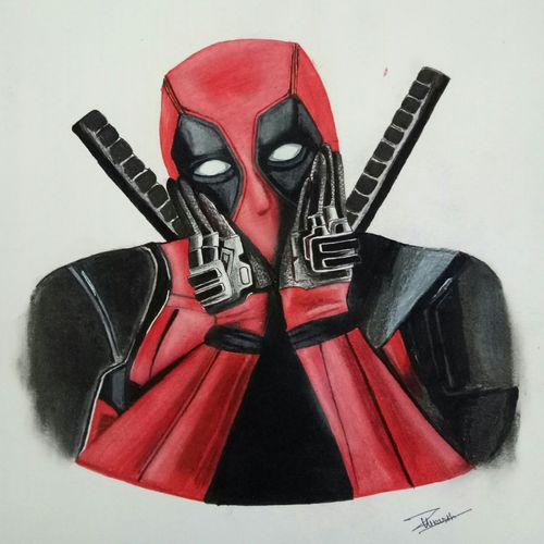 deadpool portrait , 12 x 17 inch, utkarsh khare,paintings,portrait paintings,portraiture,paintings for living room,paintings for bedroom,paintings for kids room,paintings for hotel,paintings for living room,paintings for bedroom,paintings for kids room,paintings for hotel,paper,oil,pencil color,watercolor,ball point pen,12x17inch,GAL0606114361
