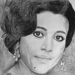 suchitra sen, 10 x 10 inch, puja nag,drawings,paintings for living room,portrait drawings,paintings for living room,paper,charcoal,graphite pencil,10x10inch,GAL091914366