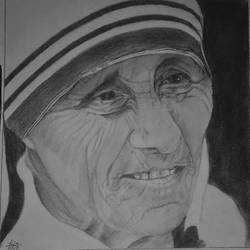 mother teresa, 10 x 10 inch, puja nag,drawings,portrait drawings,paintings for living room,paper,graphite pencil,10x10inch,GAL091914367