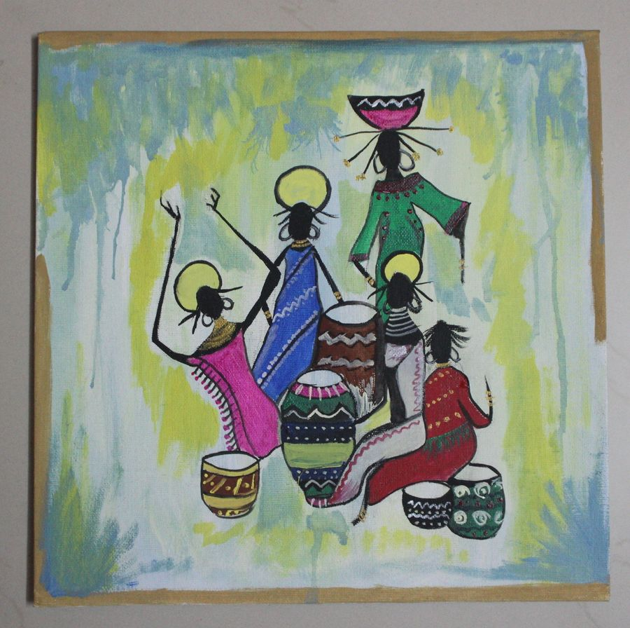 tribal, 12 x 12 inch, preeja dheeraj,paintings,abstract paintings,figurative paintings,folk art paintings,art deco paintings,street art,contemporary paintings,realistic paintings,kids paintings,paintings for dining room,paintings for living room,paintings for bedroom,paintings for office,paintings for bathroom,paintings for kids room,paintings for hotel,paintings for kitchen,paintings for school,paintings for hospital,canvas,acrylic color,poster color,watercolor,12x12inch,GAL0605614369
