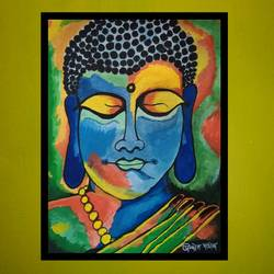 buddha, 15 x 20 inch, prajyot  patil,paintings,buddha paintings,paintings for bedroom,paintings for bedroom,paper,watercolor,15x20inch,religious,peace,meditation,meditating,gautam,goutam,buddha,lord,colourful,face,mudra,face,GAL0363614379
