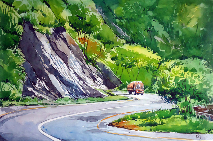 vayanad, 15 x 21 inch, raji p,landscape paintings,paintings for office,fabriano sheet,watercolor,15x21inch,GAL05901438