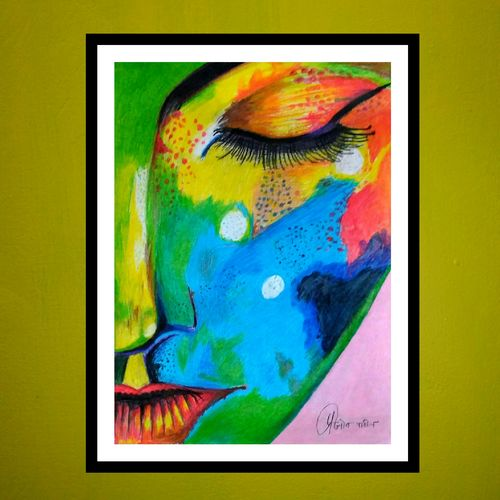 one side lady colorfull face, 12 x 15 inch, prajyot  patil,paintings,modern art paintings,paintings for bedroom,paintings for bedroom,paper,pencil color,12x15inch,GAL0363614380