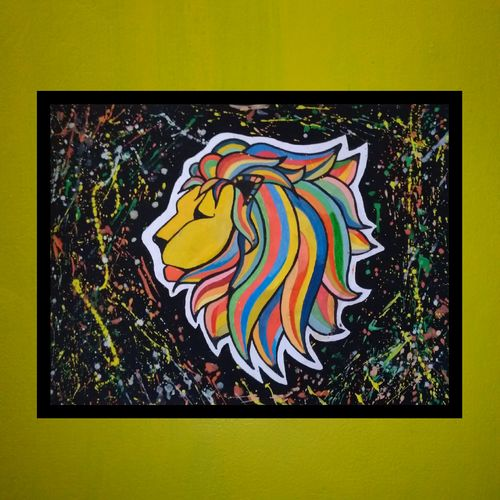 lion creative face with normal abstract background, 20 x 15 inch, prajyot  patil,paintings,abstract paintings,animal paintings,paintings for bedroom,hardboard,watercolor,20x15inch,GAL0363614381