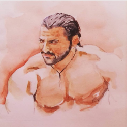 bodybuilder , 8 x 9 inch, shrikant kesarkar ,portrait paintings,paintings for living room,paintings for bedroom,paintings for kids room,paintings for kids room,thick paper,watercolor,8x9inch,GAL0609514386