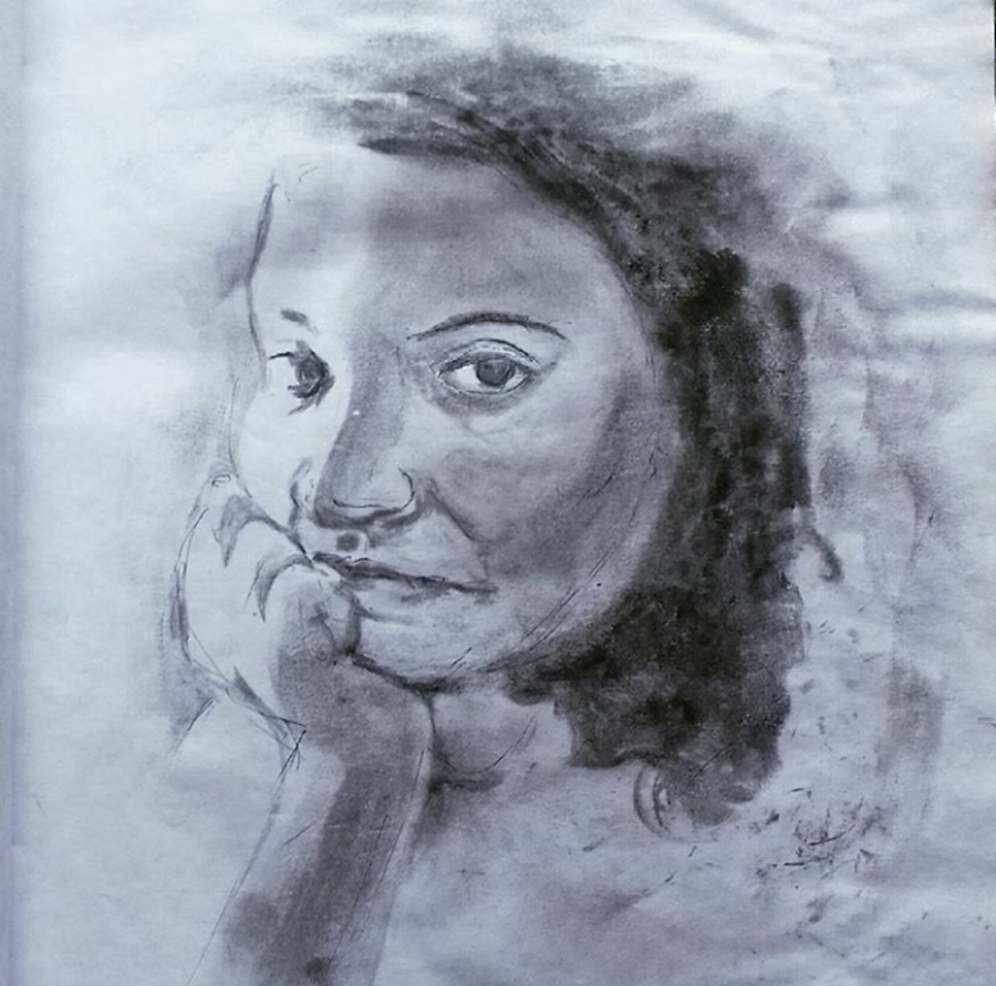 thinking, 10 x 8 inch, shrikant kesarkar ,portrait drawings,paintings for living room,paintings for bedroom,paintings for office,paintings for hotel,thick paper,charcoal,10x8inch,GAL0609514389