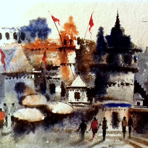 beautiful old architecture varanasi ghat 2, 7 x 11 inch, girish chandra vidyaratna,landscape paintings,paintings for dining room,paintings,handmade paper,watercolor,7x11inch,GAL036144