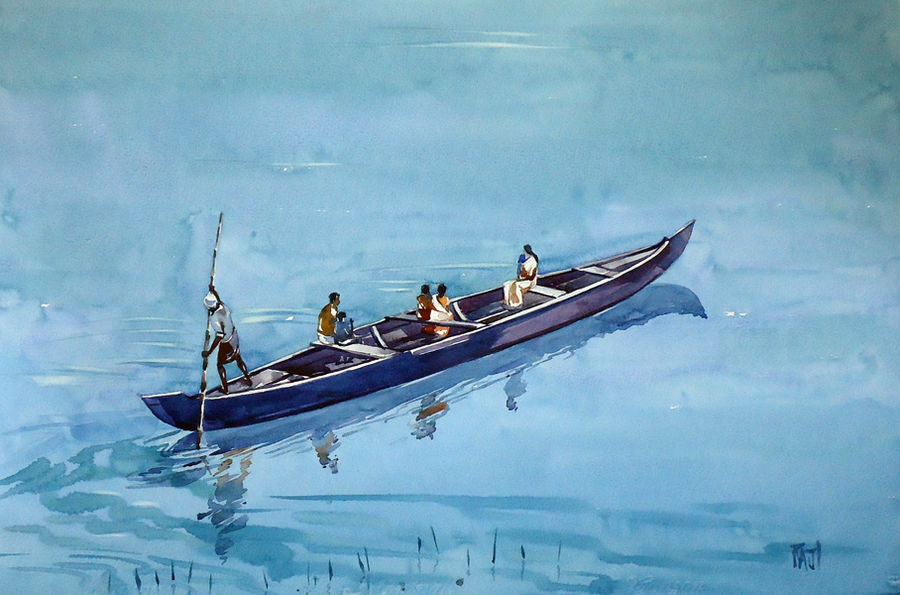crossing pamba river, 15 x 21 inch, raji p,landscape paintings,paintings for dining room,fabriano sheet,watercolor,15x21inch,GAL05901442