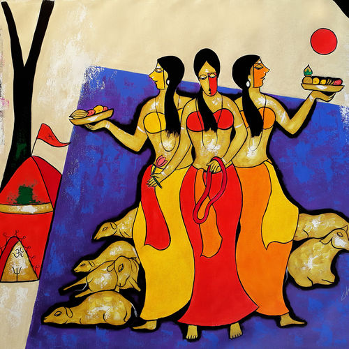 worship, 47 x 36 inch, chetan katigar,paintings,figurative paintings,religious paintings,portrait paintings,abstract expressionist paintings,art deco paintings,expressionist paintings,impressionist paintings,contemporary paintings,paintings for living room,paintings for bedroom,paintings for office,paintings for kids room,canvas,acrylic color,47x36inch,GAL026614426