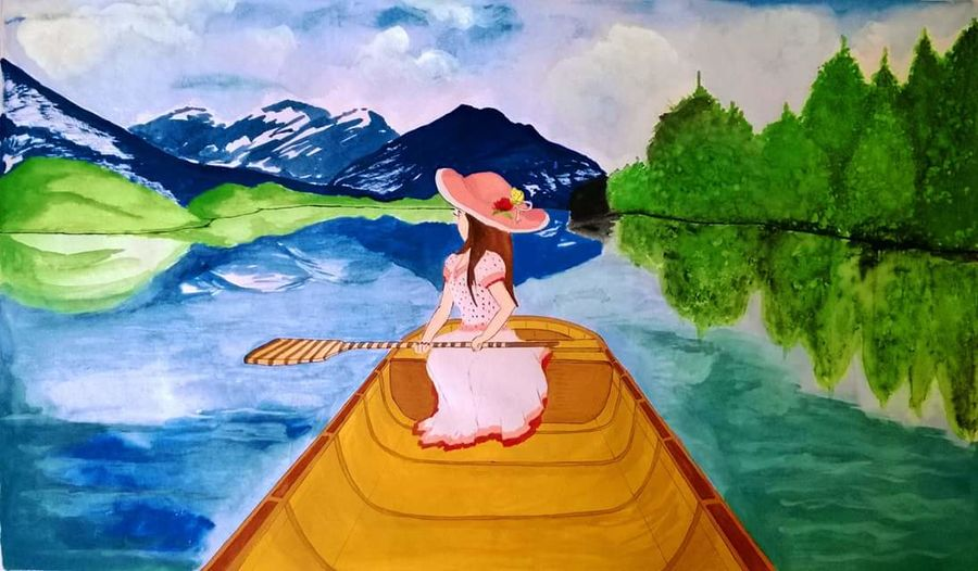 a journey towards nature, 29 x 19 inch, poornima aptekar,landscape paintings,paintings for living room,thick paper,watercolor,29x19inch,GAL05981443