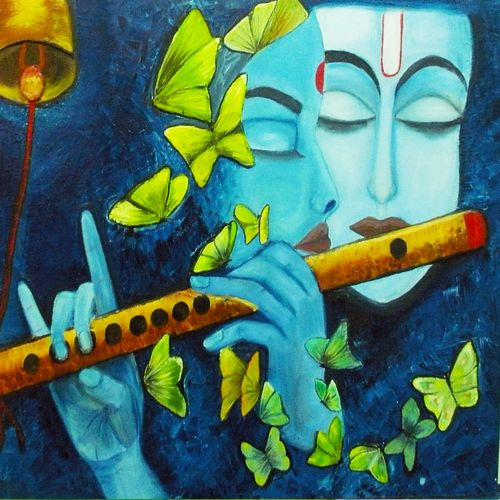 radha krishna love in nature , 18 x 24 inch, ambika srivastava,radha krishna paintings,paintings for dining room,paintings for living room,paintings for bedroom,paintings for hotel,canvas board,ceramic work,oil,18x24inch,GAL0326314430,radha,krishna,love,lordkrishna,lordradha,flute,music,lord