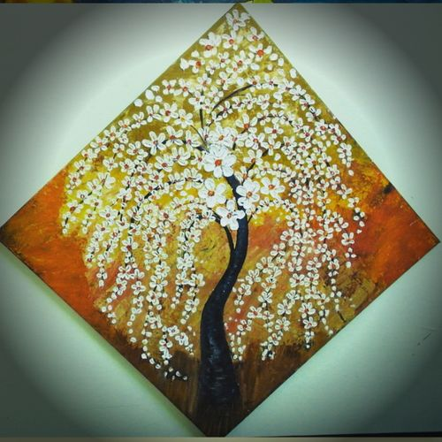 white blossom, 18 x 18 inch, ambika srivastava,paintings,flower paintings,paintings for dining room,paintings for living room,paintings for bedroom,paintings for office,paintings for bathroom,paintings for kids room,paintings for hotel,paintings for kitchen,paintings for school,paintings for hospital,canvas board,oil,18x18inch,GAL0326314431