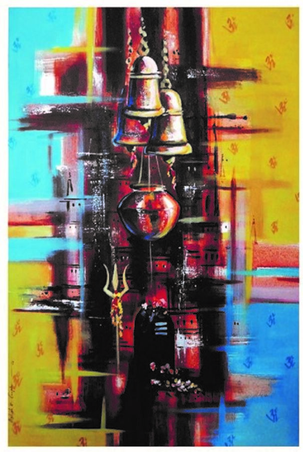 varanasi worship of lord shiva , 24 x 30 inch, ra foundation mumbai,figurative paintings,landscape paintings,conceptual paintings,still life paintings,abstract expressionist paintings,street art,paintings for dining room,paintings for living room,paintings for office,paintings for hotel,lord shiva paintings,canvas board,acrylic color,24x30inch,GAL0612614435