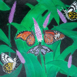 butterflies, 16 x 13 inch, poornima  v,paintings,flower paintings,nature paintings,paintings for living room,paintings for kids room,paintings for living room,paintings for kids room,canvas,acrylic color,16x13inch,GAL0613314452Nature,environment,Beauty,scenery,greenery