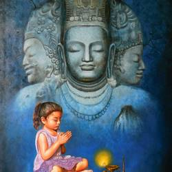 little priest 2, 32 x 46 inch, gopal sharma,figurative paintings,religious paintings,paintings for living room,paintings for office,paintings for kids room,paintings for school,paintings for living room,paintings for office,paintings for kids room,paintings for school,children paintings,kids paintings,canvas,oil,32x46inch,GAL0460014461