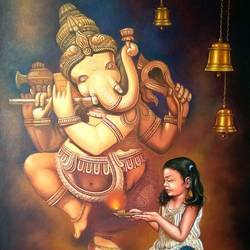 little priest 3, 35 x 46 inch, gopal sharma,figurative paintings,paintings for school,paintings for hospital,children paintings,kids paintings,canvas,oil,35x46inch,GAL0460014462