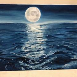 moonlight and calm sea, 14 x 18 inch, sugandha jain,paintings,nature paintings,paintings for dining room,paintings for living room,paintings for bedroom,paintings for office,paintings for bathroom,paintings for kids room,paintings for hotel,paintings for kitchen,paintings for school,paintings for hospital,canvas,oil,14x18inch,GAL0614414463Nature,environment,Beauty,scenery,greenery
