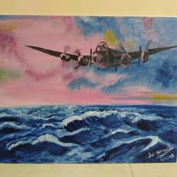 sea and plane, 14 x 18 inch, sugandha jain,paintings,nature paintings,canvas,oil,14x18inch,GAL0614414464Nature,environment,Beauty,scenery,greenery