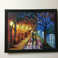 couple's new beginning , 15 x 12 inch, akriti bisht,paintings,landscape paintings,paintings for bedroom,paintings for bedroom,canvas,acrylic color,15x12inch,GAL0614814469