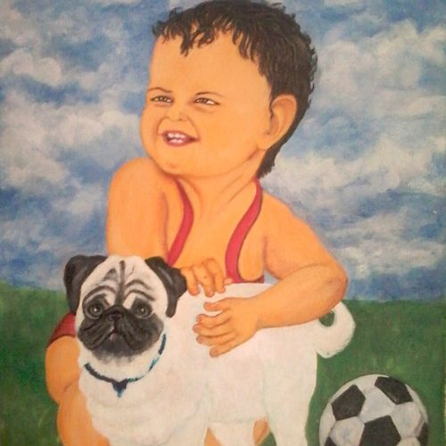 cute acrylic, 18 x 15 inch, vimala  renjith,paintings for living room,paintings for bedroom,baby paintings,kids paintings,canvas,acrylic color,18x15inch,GAL05611447
