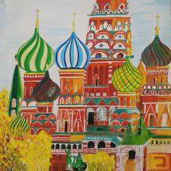 st petersberg dome shaped church , 15 x 23 inch, sandhya kumari,paintings,landscape paintings,religious paintings,photorealism paintings,paintings for dining room,paintings for living room,photorealism,handmade paper,watercolor,15x23inch,GAL0365914471