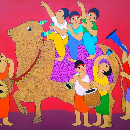 nandi bullock invasion, 60 x 48 inch, dnyaneshwar  bembade ,paintings,figurative paintings,paintings for kids room,canvas,acrylic color,60x48inch,GAL046414479