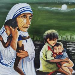 mother teresa blessing, 18 x 24 inch, sandhya kumari,paintings,figurative paintings,landscape paintings,religious paintings,nature paintings,expressionist paintings,photorealism paintings,mother teresa paintings,children paintings,kids paintings,paintings for dining room,paintings for living room,paintings for office,paintings for school,paintings for hospital,canvas,acrylic color,18x24inch,GAL0365914481Nature,environment,Beauty,scenery,greenery