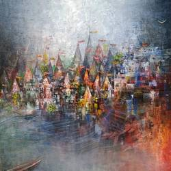 river side banaras ghat, 24 x 24 inch, m. singh,abstract paintings,cityscape paintings,landscape paintings,modern art paintings,religious paintings,impressionist paintings,contemporary paintings,paintings for dining room,paintings for living room,paintings for office,paintings for kids room,canvas,acrylic color,24x24inch,GAL0537714482