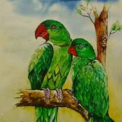 birds of feature flok together, 11 x 15 inch, shreyasi nag dutta,paintings,nature paintings,paintings for living room,paintings for kids room,paintings for living room,paintings for kids room,thick paper,watercolor,11x15inch,GAL0617114490Nature,environment,Beauty,scenery,greenery,parrots,love