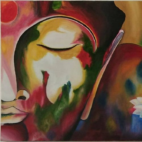 bliss, 36 x 24 inch, swara srivastava,paintings,abstract paintings,buddha paintings,paintings for living room,paintings for office,paintings for hotel,canvas,oil,36x24inch,religious,peace,meditation,meditating,gautam,goutam,buddha,colourful,side face,lotus,GAL0617214491