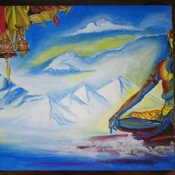 shiva, 18 x 14 inch, swara srivastava,figurative paintings,landscape paintings,nature paintings,paintings for living room,paintings for office,paintings for hotel,lord shiva paintings,canvas board,acrylic color,18x14inch,GAL0617214495Nature,environment,Beauty,scenery,greenery