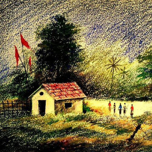 village in nature , 11 x 14 inch, girish chandra vidyaratna,landscape paintings,paintings for dining room,renaissance watercolor paper,pastel color,11x14inch,GAL036145