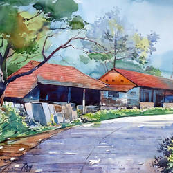 village road, 21 x 15 inch, raji p,landscape paintings,paintings for dining room,fabriano sheet,watercolor,21x15inch,GAL05901450
