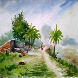 small road village , 15 x 11 inch, ravi patel,landscape paintings,cubist paintings,paintings for dining room,paintings for living room,paintings for bedroom,paintings for office,paintings for hotel,paintings for hospital,paintings for dining room,paintings for living room,paintings for bedroom,paintings for office,paintings for hotel,paintings for hospital,handmade paper,watercolor,15x11inch,GAL0578914517