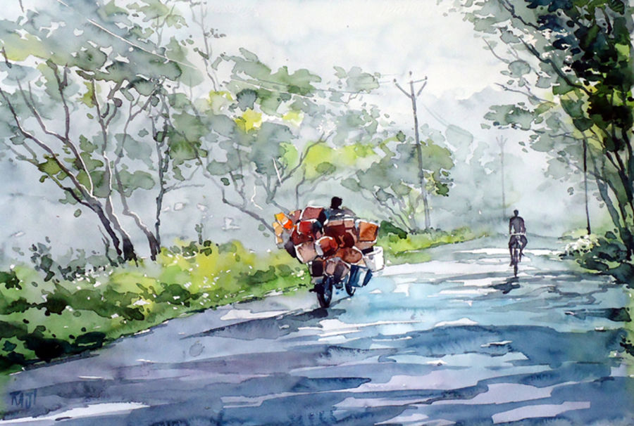 lovely morning , 15 x 21 inch, raji p,landscape paintings,paintings for office,fabriano sheet,watercolor,15x21inch,GAL05901452