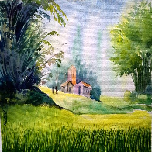 village on a green mountain, 15 x 11 inch, ravi patel,landscape paintings,nature paintings,paintings for dining room,paintings for living room,paintings for bedroom,paintings for office,paintings for hotel,paintings for kitchen,paintings for school,paintings for hospital,handmade paper,watercolor,15x11inch,GAL0578914521Nature,environment,Beauty,scenery,greenery