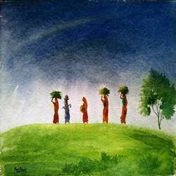 return to home 2, 15 x 11 inch, ravi patel,paintings,landscape paintings,nature paintings,paintings for dining room,paintings for living room,paintings for bedroom,paintings for office,paintings for hotel,paintings for hospital,handmade paper,watercolor,15x11inch,GAL0578914524Nature,environment,Beauty,scenery,greenery