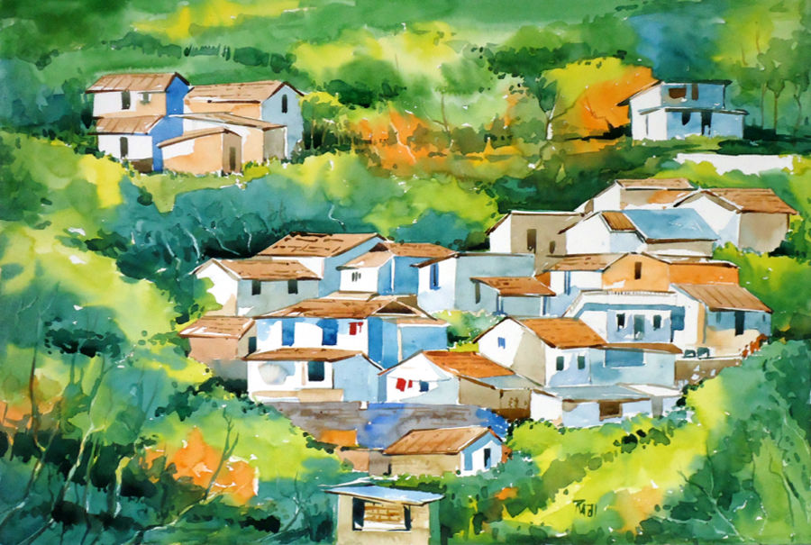 ootty, 15 x 21 inch, raji p,landscape paintings,paintings for office,fabriano sheet,watercolor,15x21inch,GAL05901453