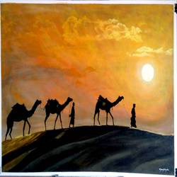 sunset, 48 x 32 inch, manoj tripathi,paintings,landscape paintings,canvas,acrylic color,48x32inch,GAL0617614530