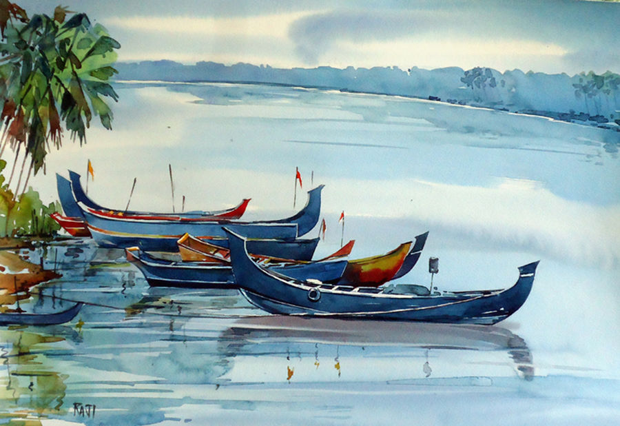 waiting, 15 x 21 inch, raji p,landscape paintings,paintings for living room,fabriano sheet,watercolor,15x21inch,GAL05901454