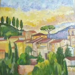 landscape from tuscany, 24 x 40 inch, ivelina sharma,paintings,landscape paintings,nature paintings,paintings for dining room,paintings for living room,paintings for bedroom,paintings for office,canvas,oil,24x40inch,GAL0621414549Nature,environment,Beauty,scenery,greenery