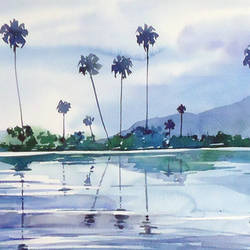 thenkasi lake, 11 x 30 inch, raji p,landscape paintings,paintings for office,fabriano sheet,watercolor,11x30inch,GAL05901455