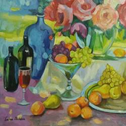a summer day, 20 x 30 inch, ivelina sharma,paintings,flower paintings,modern art paintings,still life paintings,paintings for dining room,paintings for living room,paintings for kitchen,paintings for dining room,paintings for living room,paintings for kitchen,canvas,oil,20x30inch,GAL0621414553