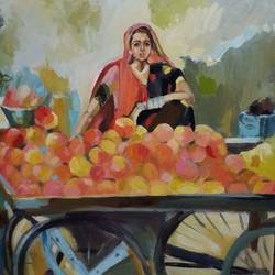 the fruit seller, 40 x 40 inch, ivelina sharma,paintings,figurative paintings,modern art paintings,expressionist paintings,paintings for dining room,paintings for living room,paintings for bedroom,paintings for office,paintings for hotel,canvas,oil,40x40inch,GAL0621414554