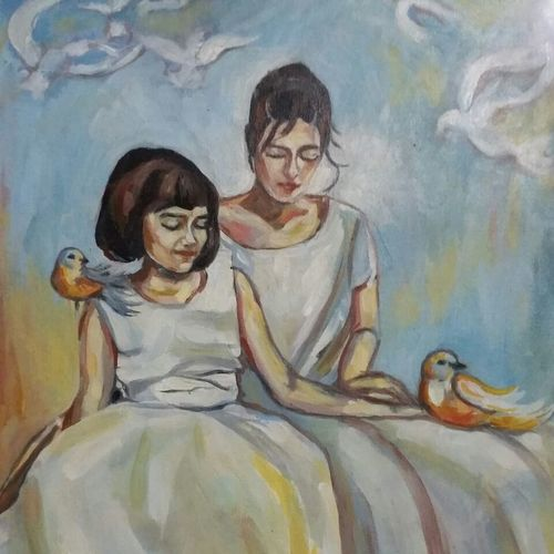 childhood, 18 x 24 inch, ivelina sharma,paintings,figurative paintings,modern art paintings,portrait paintings,impressionist paintings,children paintings,paintings for bedroom,paintings for kids room,canvas,oil,18x24inch,GAL0621414555