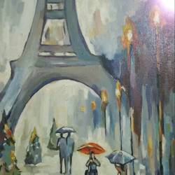 winter in paris, 20 x 24 inch, ivelina sharma,paintings,cityscape paintings,modern art paintings,expressionist paintings,paintings for dining room,paintings for living room,paintings for bedroom,paintings for office,canvas,oil,20x24inch,GAL0621414556