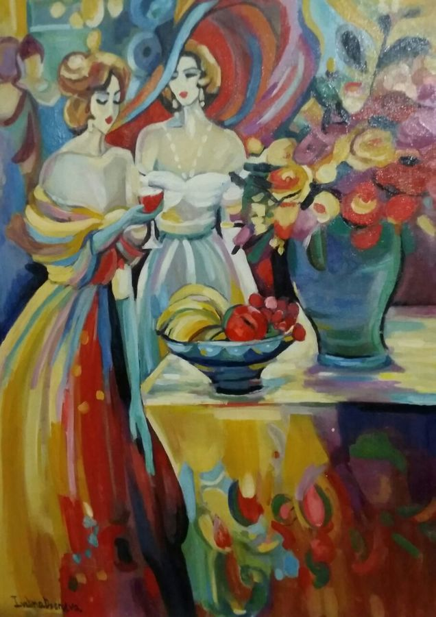 the kitty party, 24 x 36 inch, ivelina sharma,paintings,abstract paintings,figurative paintings,modern art paintings,expressionist paintings,paintings for dining room,paintings for living room,paintings for bedroom,canvas,oil,24x36inch,GAL0621414557