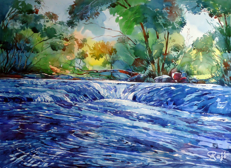 freshness of nature, 17 x 30 inch, raji p,landscape paintings,paintings for living room,fabriano sheet,watercolor,17x30inch,GAL05901456